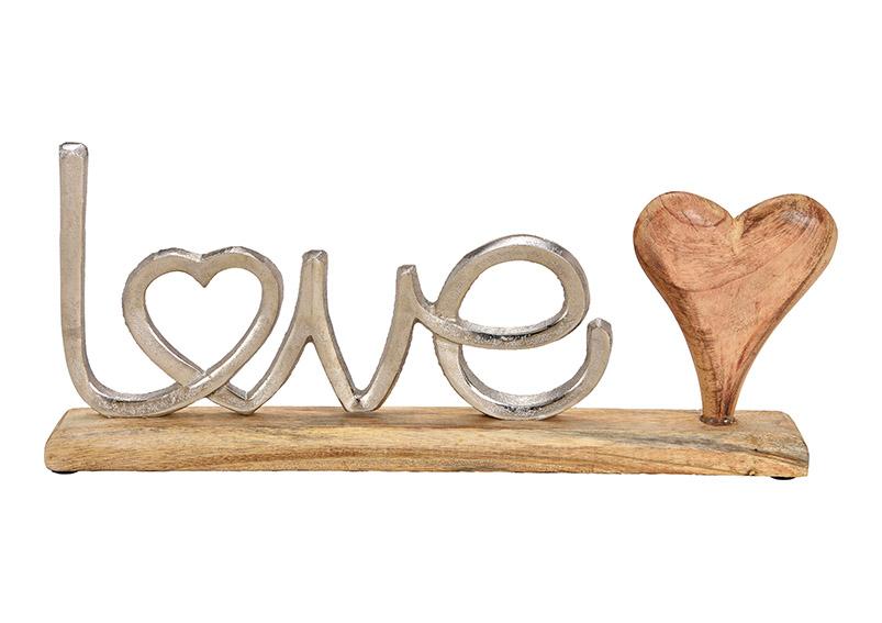 dekorace LOVE na podstavci 40x18x5 cm, kov a mangové dřevo
