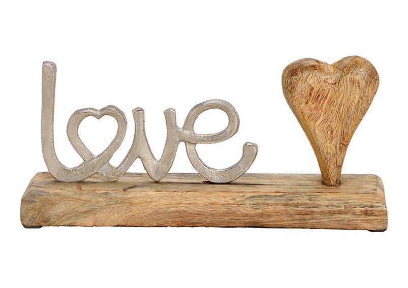 dekorace LOVE na podstavci 25x12x5 cm, kov a mangové dřevo