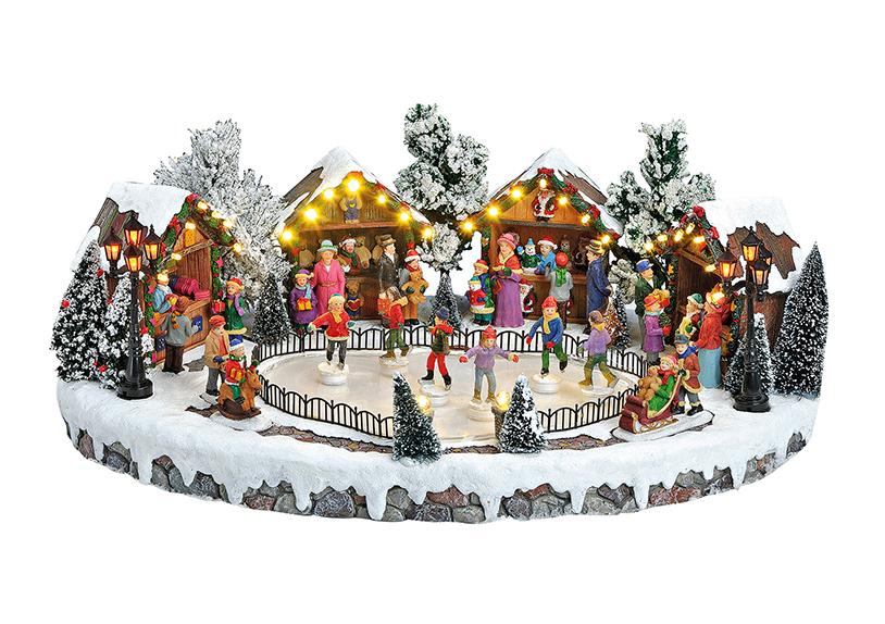 zimní scéna s kluzištěm s osvětlením a hudbou 44x30x18 cm, polyresin