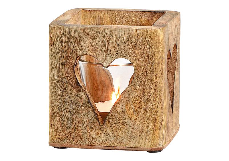 svícen na čajovou svíčku HEART 9x9x9 cm, sklo a mangové dřevo
