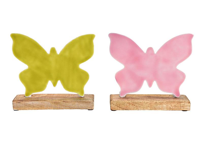 motýl na podstavci 20x19x5 cm, kov a mangové dřevo - 2 druhy