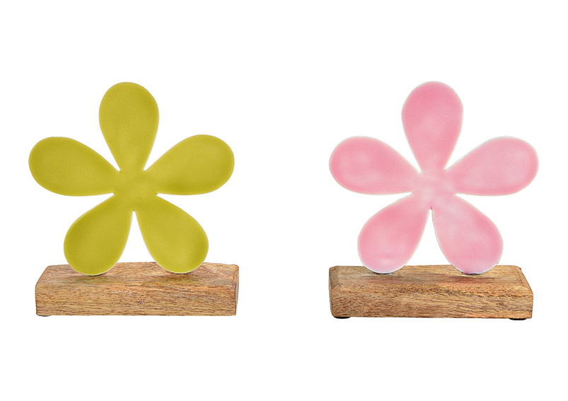 květina na podstavci 15x18x5 cm, kov a mangové dřevo - 2 druhy