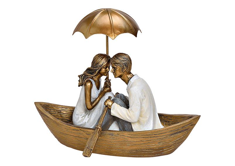 zamilovaný pár na loďce 22x17x13 cm, polyresin