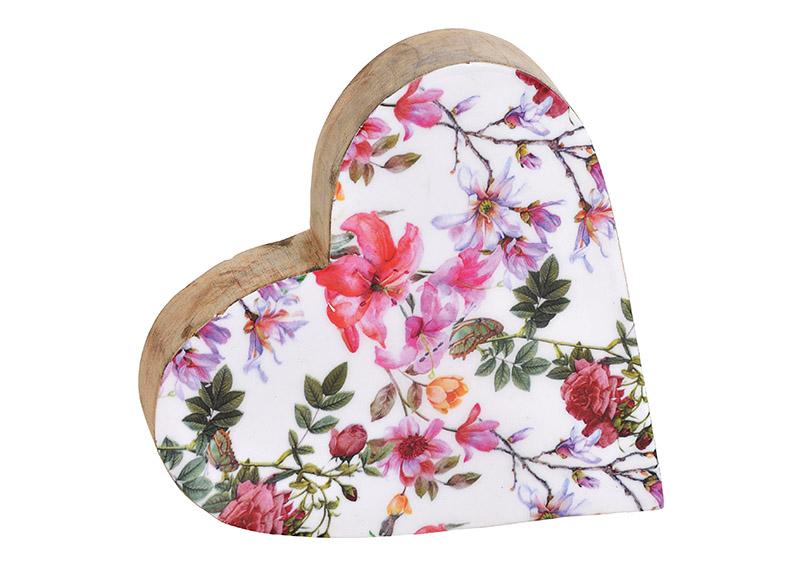 srdce z mangového dřeva FLOWER 20x20x4 cm