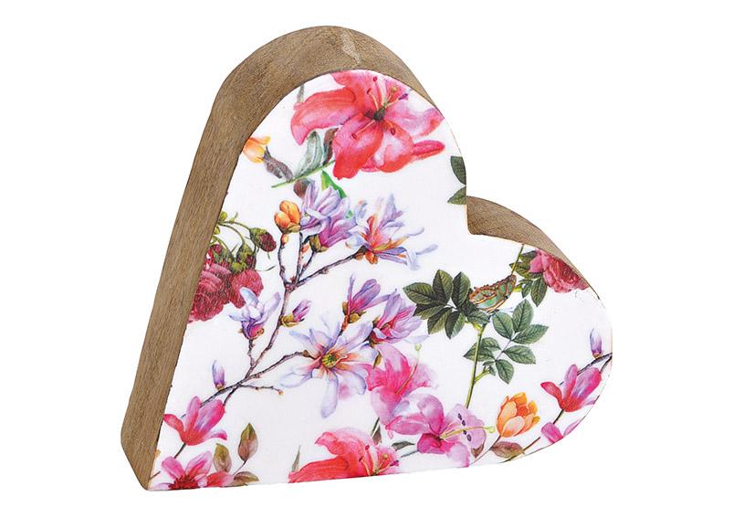 srdce z mangového dřeva FLOWER 15x15x4 cm