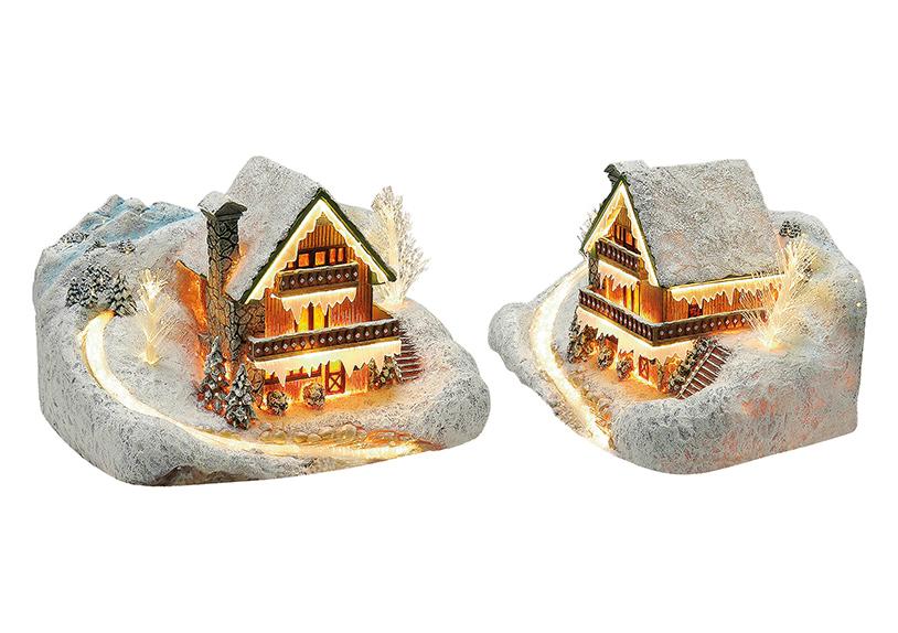 zimní vesnická scéna s osvětlením 26x15x19 cm, polyresin