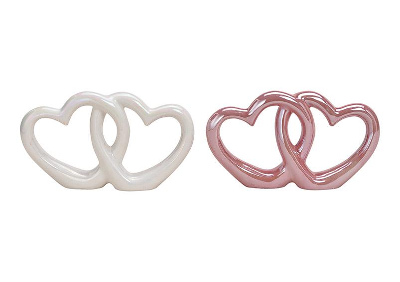 dvojité srdce z keramiky 21x12x4 cm - 2 druhy