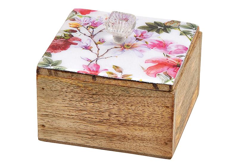 box z mangového dřeva FLOWER 10x9x10 cm