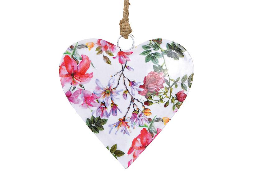 závěsné kovové srdce FLOWERS 16x16X2 cm