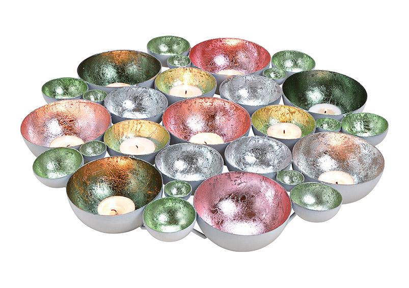 svícen na čajové svíčky BOWL SILVER 20x20x3 cm, kov