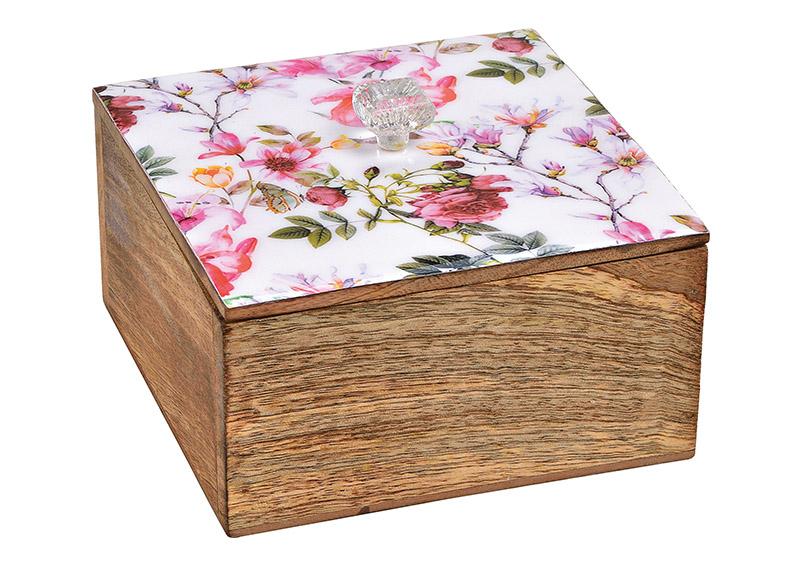 box z mangového dřeva FLOWER 15x8x15 cm