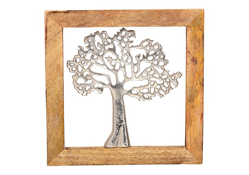 Wallhanger tree metal mangowood frame silver/brown 31x31x2cm