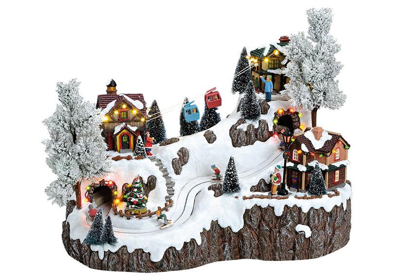 zimní vesnická scéna s osvětlením a hudbou 46x27x38 cm, polyresin