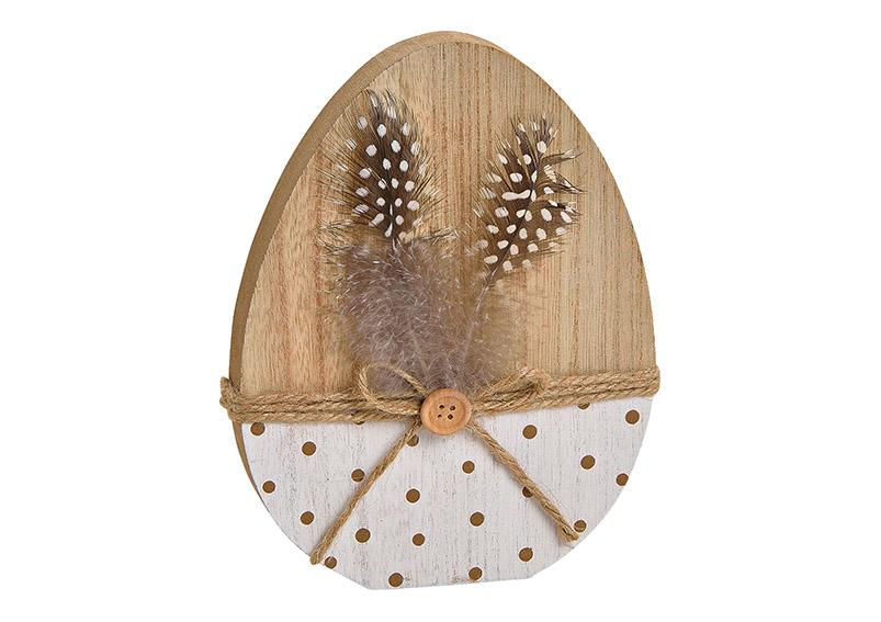 dřevěné vajíčko s peříčky 15x19x2 cm