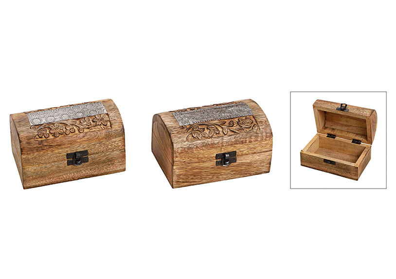 dřevěná šperkovnice INDIA 15x8x9 cm - 2 druhy