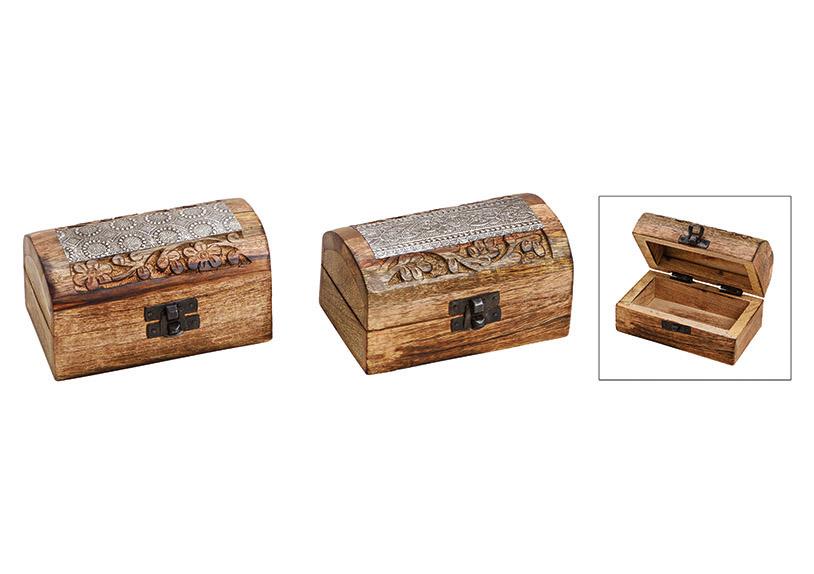 dřevěná šperkovnice INDIA 13x7x7 cm - 2 druhy