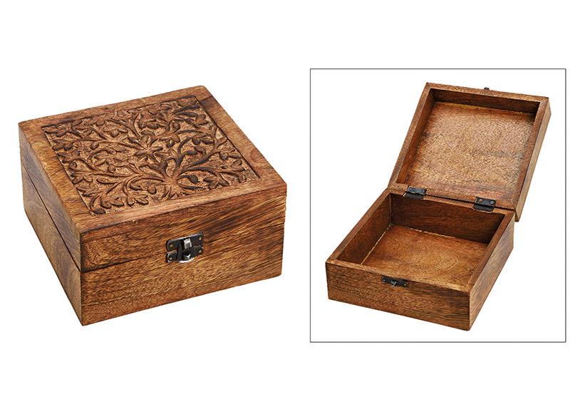 dřevěná šperkovnice INDIA 17x10x17 cm