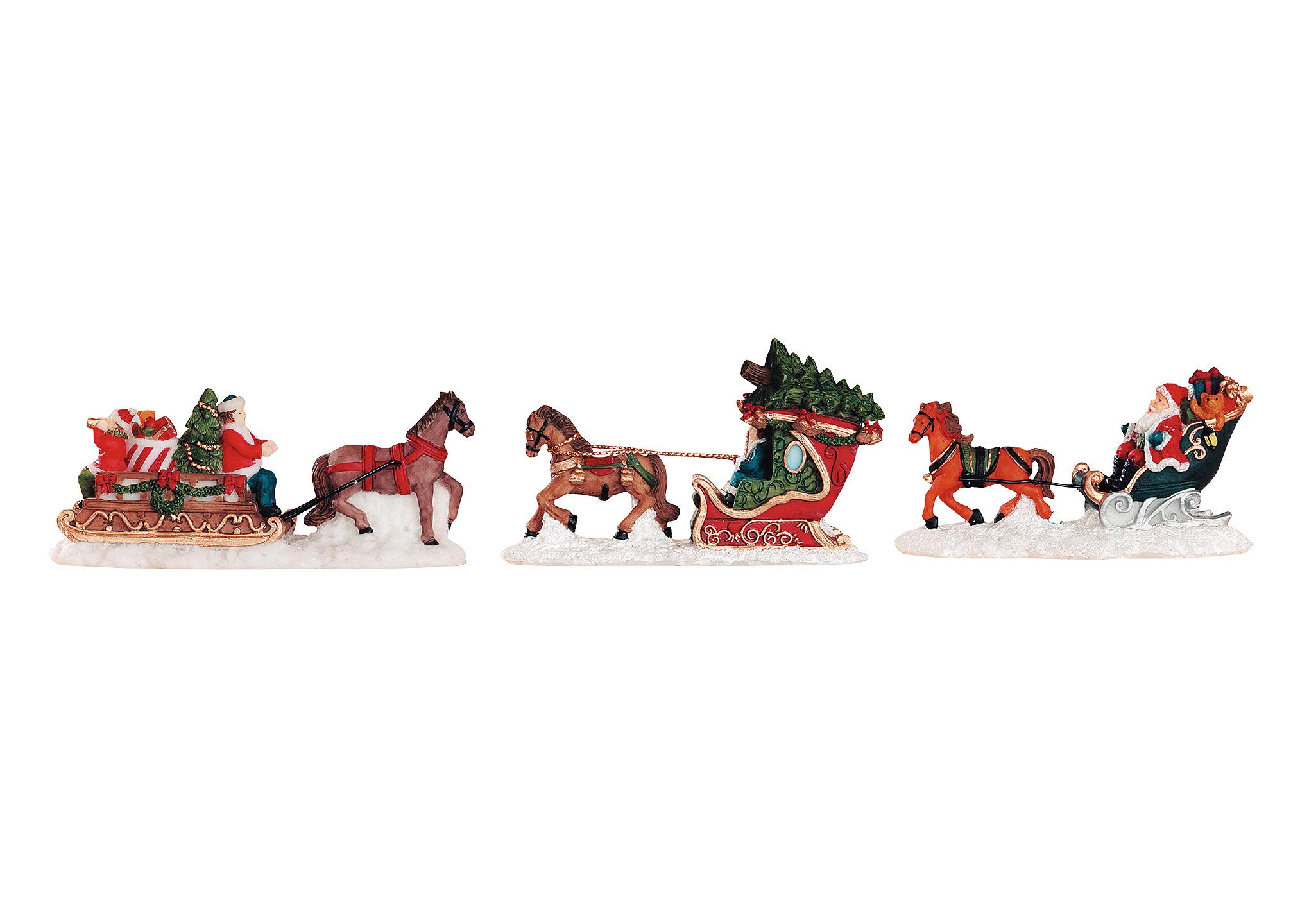 koně se sáněmi 9 cm, polyresin