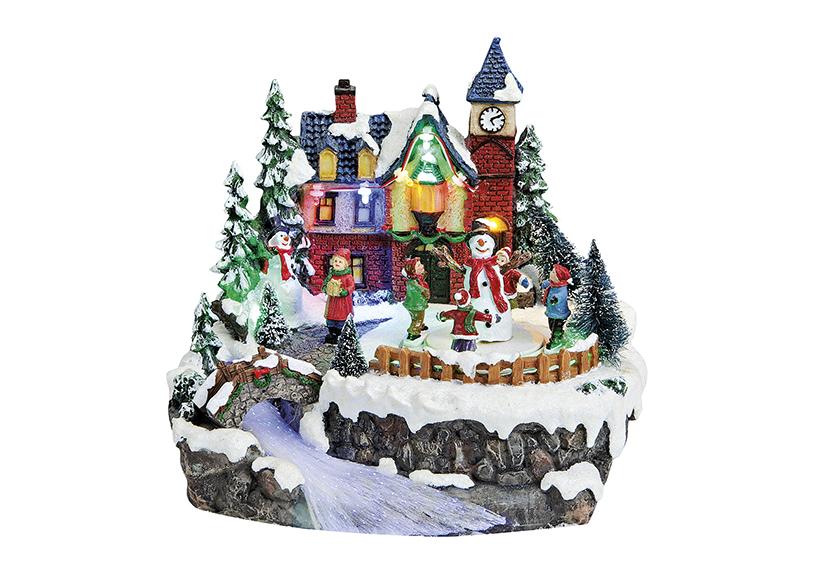 zimní vesnická scéna s osvětlením 22x21x20 cm, polyresin