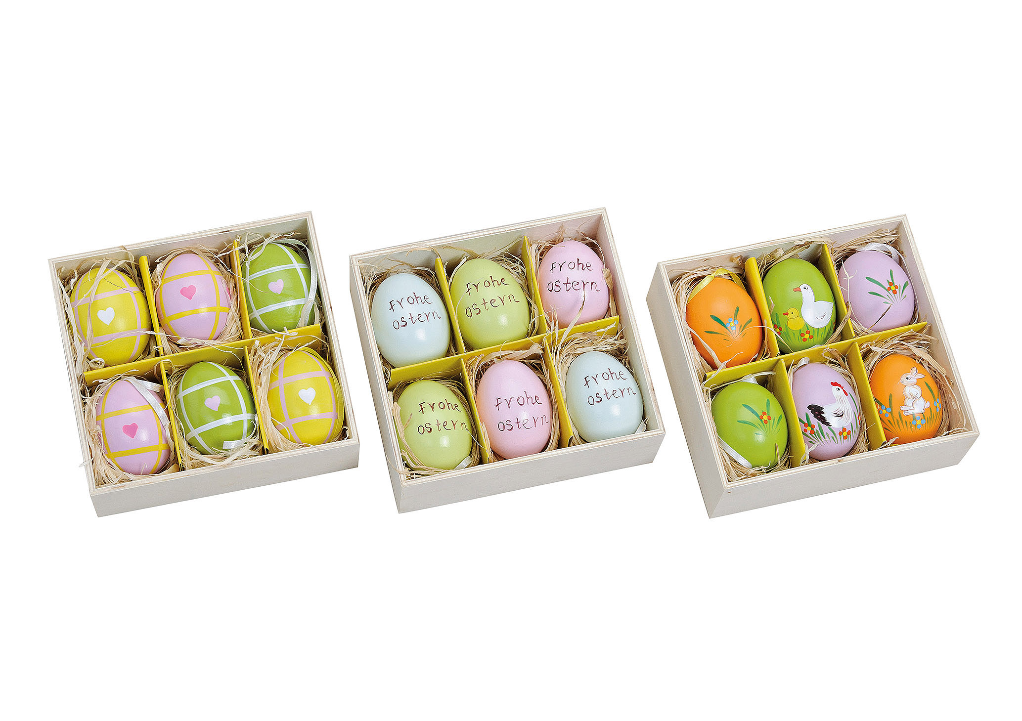 šest závěsných vajíček 4x6x4 cm v krabičce - 3 druhy